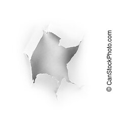 Hole punched in the paper - concept background