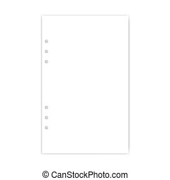 Hole punched junior legal size white blank filler paper for ring binder