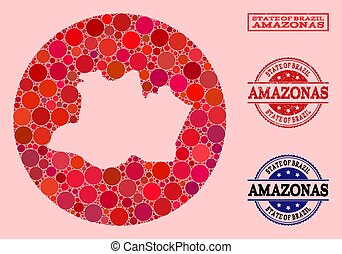Hole Round Map of Amazonas State Mosaic and Rubber Seal