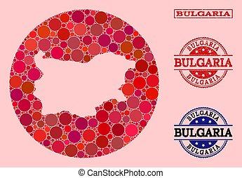 Hole Round Map of Bulgaria Mosaic and Grunge Stamp