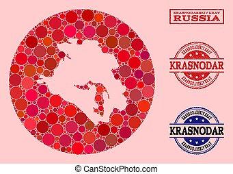 Hole Round Map of Krasnodarskiy Kray Mosaic and Rubber Stamp...