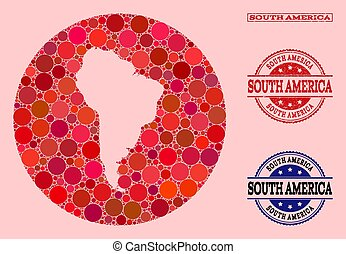 Hole Round Map of South America Mosaic and Watermark Stamp
