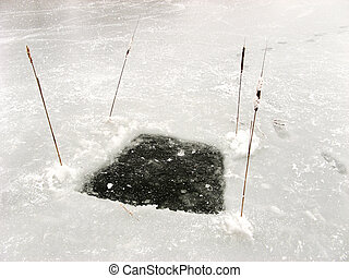 Hole to fish - Frozen hole to fish on the lake.