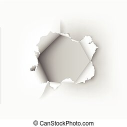 Hole torn in ripped paper