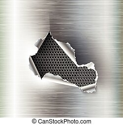 Hole torn in ripped steel on metal background