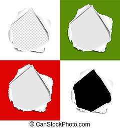 Hole Torn Paper Set Isolated background