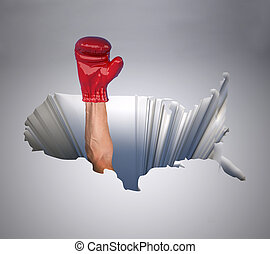 hole with a map of the united states of america and arm with boxing glove