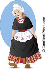 holenderski, dziewczyna, w, krajowy, kostium