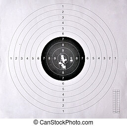 Holes in a shooting target