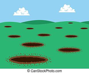Multiple holes in grassy field