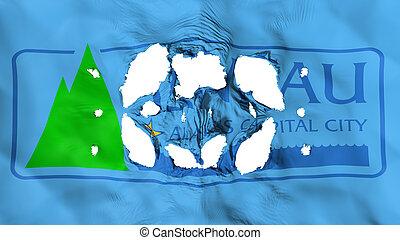 Holes in Juneau city capital flag - Holes in Juneau city, ...