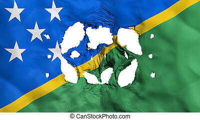 Holes in Solomon Islands flag, white background, 3d ...