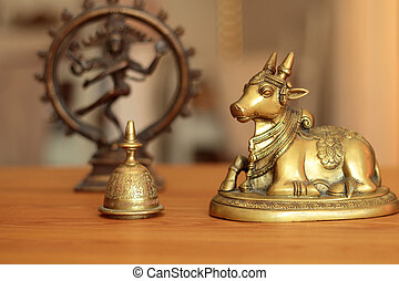 holey cow and divine shiva - Holy cow resting under the...