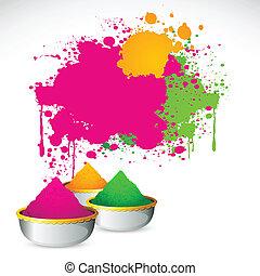 Holi Background - illustration of bowl full of colorful...