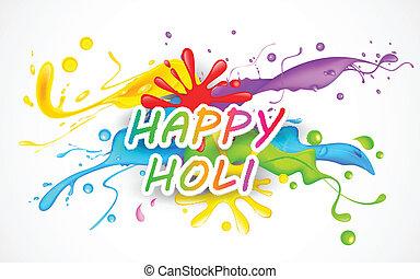 illustration of colorful color splash in Holi background