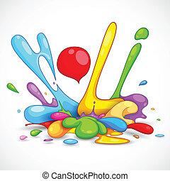 Holi Background - illustration of colorful color splash in...