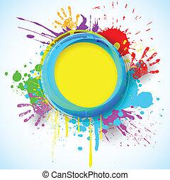 Holi Background - illustration of holi background with hand...