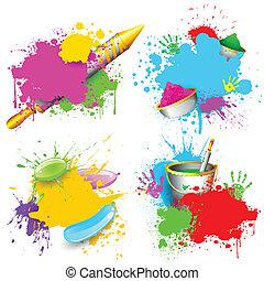 Holi Background - illustration of set of Holi splash with...
