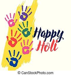 holi, coloré, fond, mains, heureux, célébration