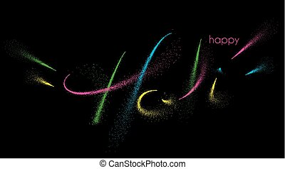 Holi colorful calligraphic lettering poster. Colorful hand written font with paint/ink splatters.