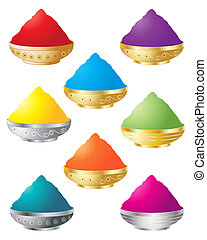 holi colors - an illustration of decorative containers with...