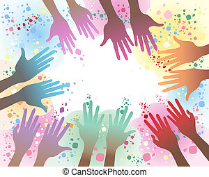 holi festival - an illustration of seven pairs of hands in...