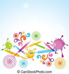 holi festival celebration - vector colorful background of...