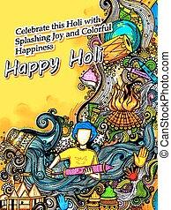 holi, festival, couleurs, salutations, fond, heureux, ...