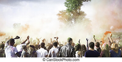 Holi Festival of Colors - Dancing and celebrating during the...