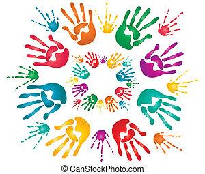 holi hand prints - an illustration of colorful hand prints...