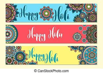 Holi Holiday Horizontal banners