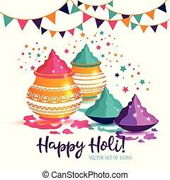 holi, illustration., coloré, festival, indien, fond, heureux