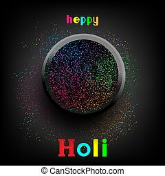 holi paint colors in plate with text