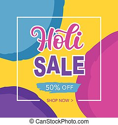 Holi Sale banner with hand written calligraphy
