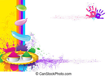 Holi Wallpaper - illustration of holi thali with colorful...