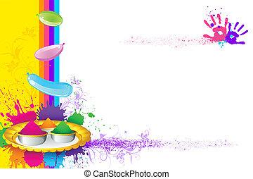 Holi Wallpaper - illustration of holi thali with colorful...