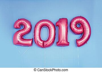 holiday., 2019, números, ano, novo, balloons., celebração,...