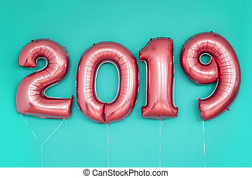 holiday., 2019, numrerar, år, färsk, balloons., firande, jul