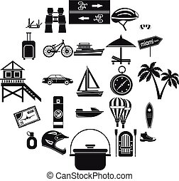 Holiday abroad icons set, simple style - Holiday abroad...