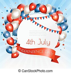Holiday American background with colorful balloons for 4th of July. Vector.