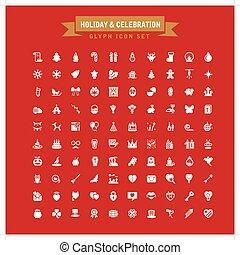 Holiday And Celebration Glyph Icon Set