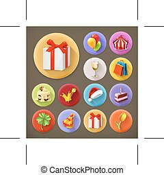 Holiday and gifts icons