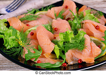 Holiday appetizer of smoked salmon
