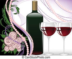 Holiday Arrangement - wine glasses on a black background ...