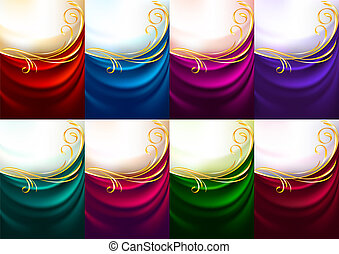 Holiday backdrops - Set colored fabrics, vector illustration