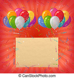 Holiday background, balloons with paper