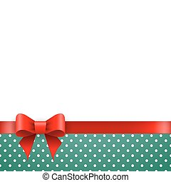 Holiday background blue polka dots with ribbon and bow