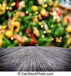 Holiday background - Old wooden table with holiday...