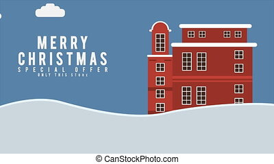 Holiday background on the house with winter footage