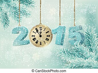 Holiday background with a 2015 made with a clock. Vector.